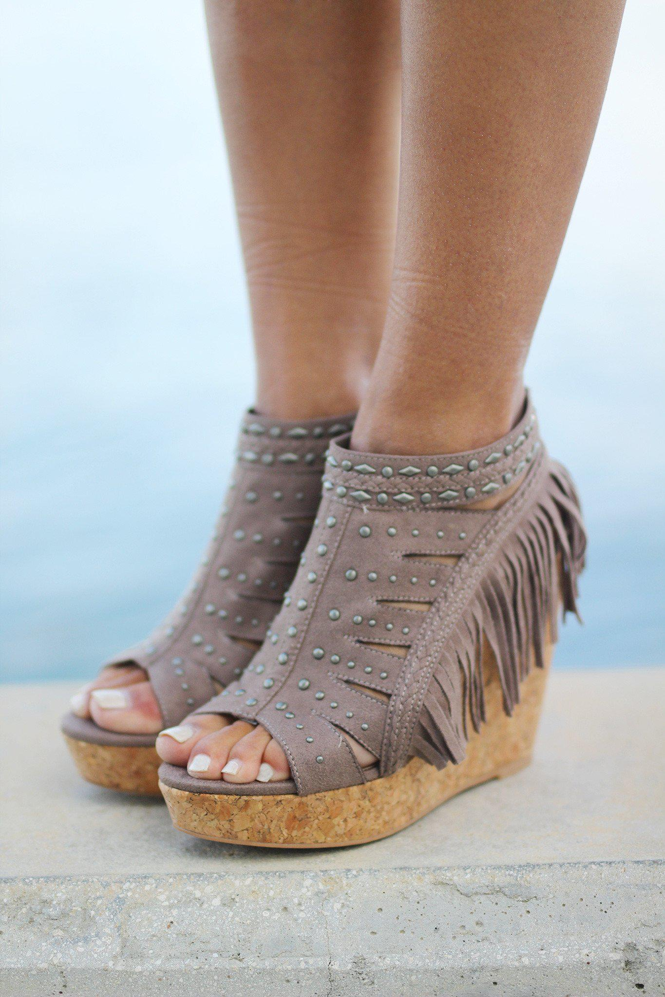 frolic in fringe taupe wedges - Frolic In Fringe Taupe Wedges Fringe Wedges Wedges – Saved By