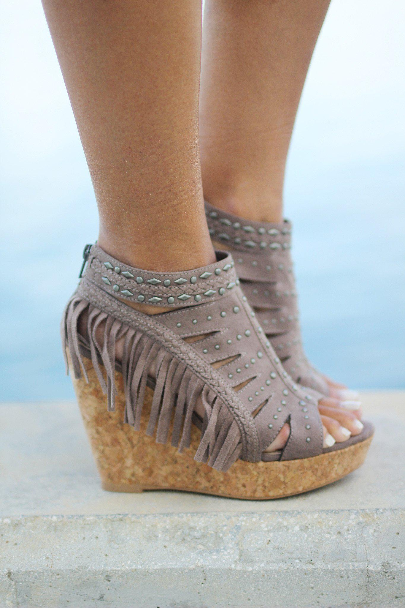 taupe fringe wedges - Frolic In Fringe Taupe Wedges Fringe Wedges Wedges – Saved By