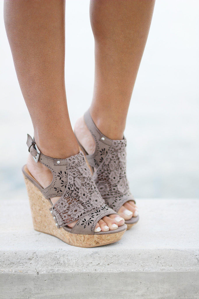 taupe cute wedges
