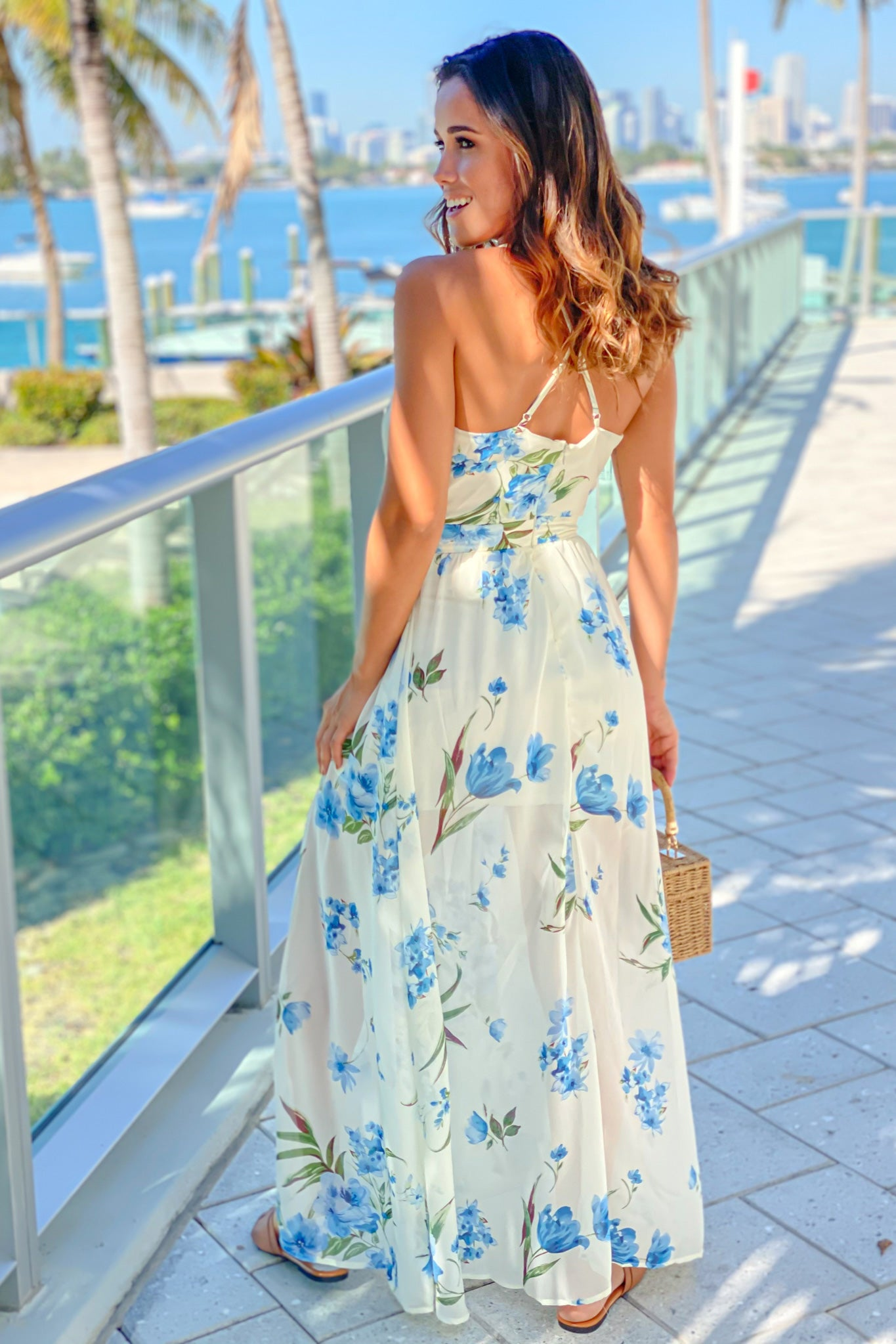 off white and blue floral criss cross back maxi dress