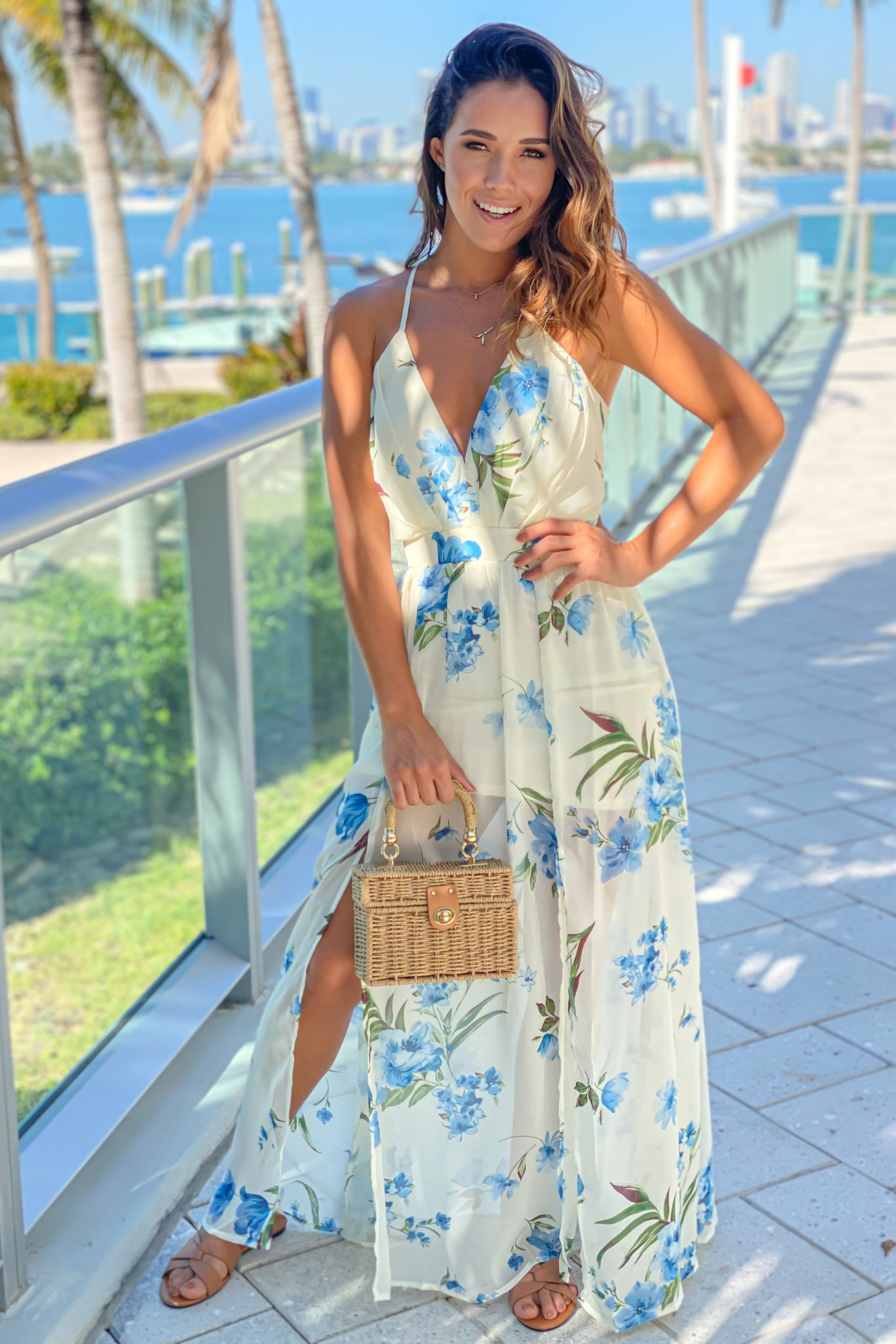 off white and blue floral cute maxi dress