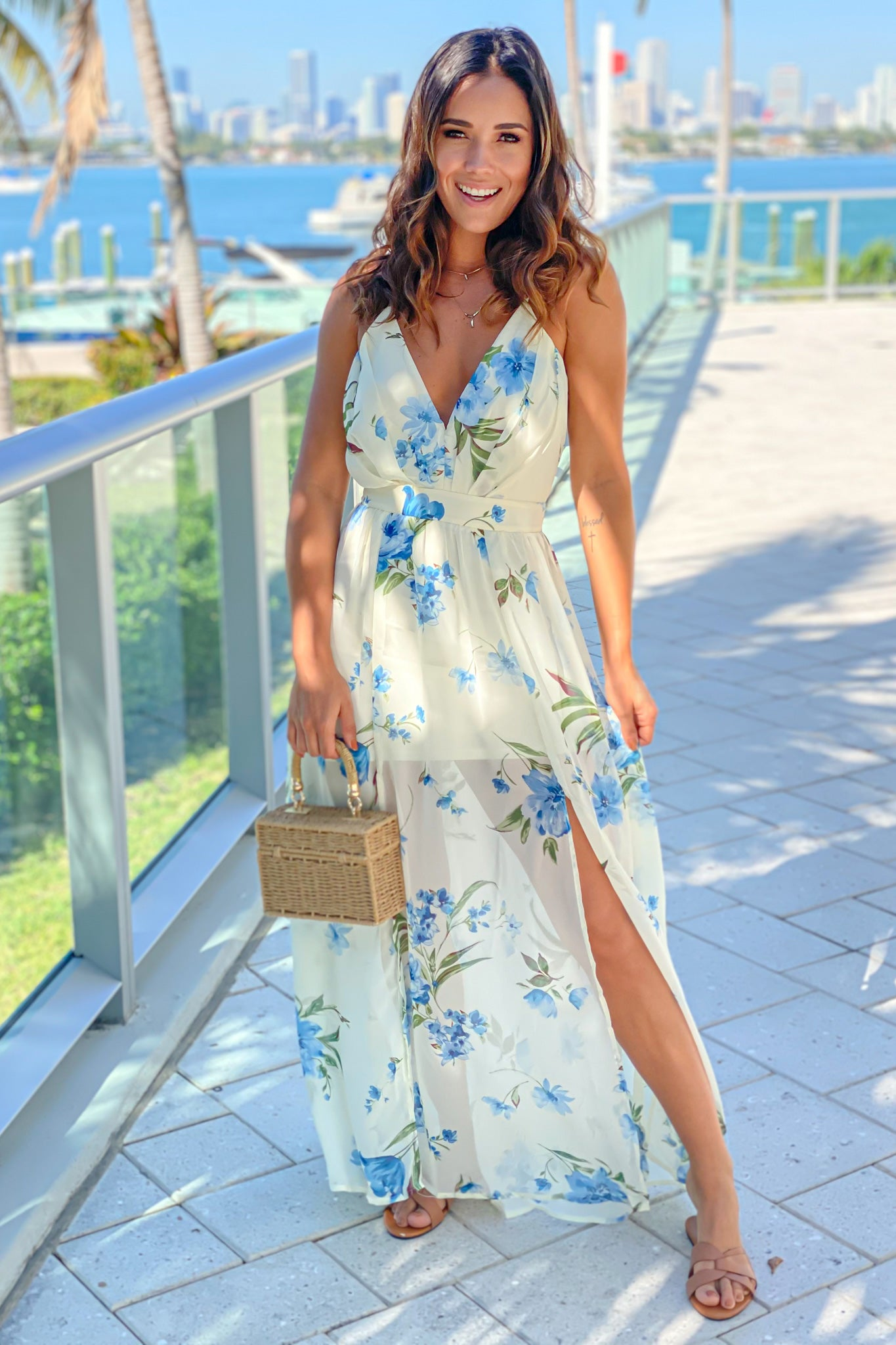 off white and blue floral maxi dress