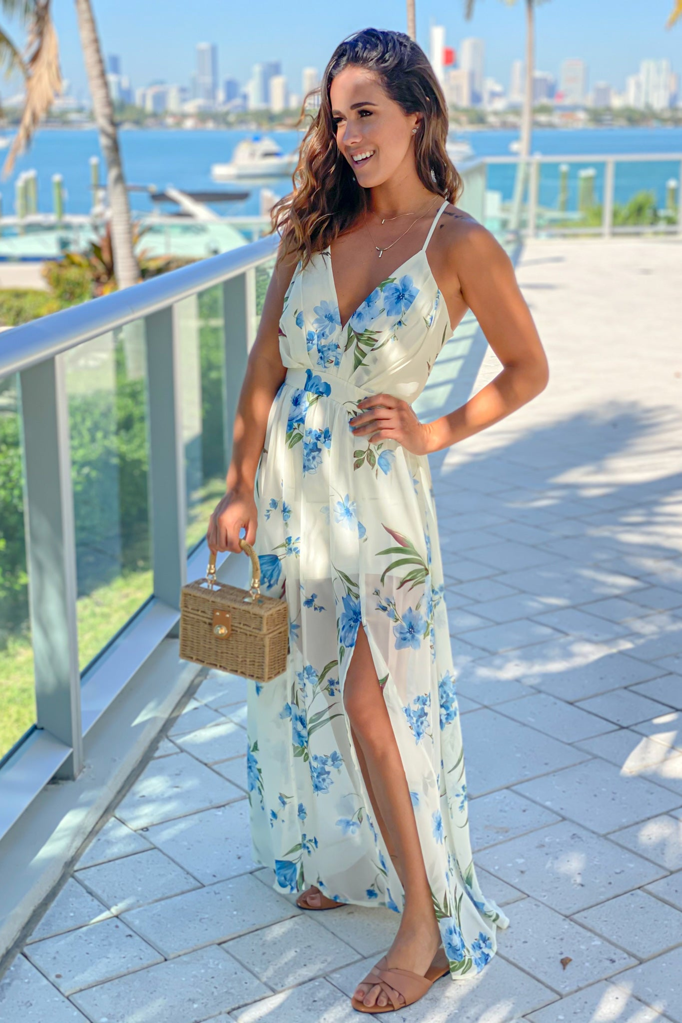 off white and blue floral maxi