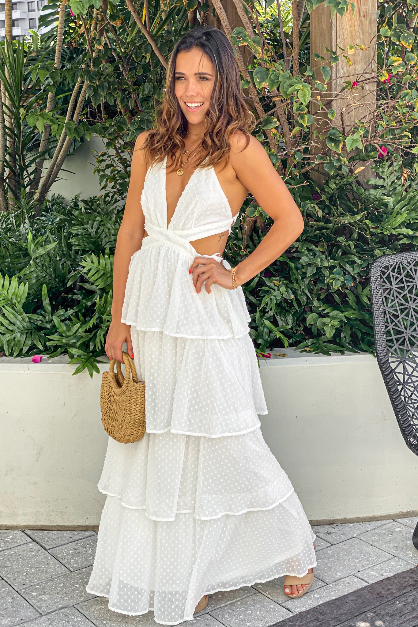off white casual maxi dress