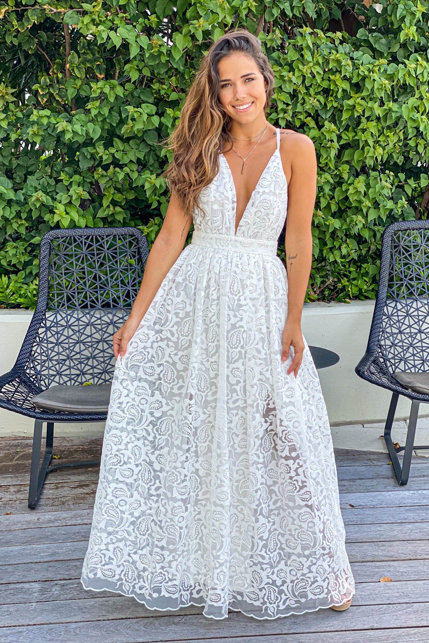 off white crochet maxi dress
