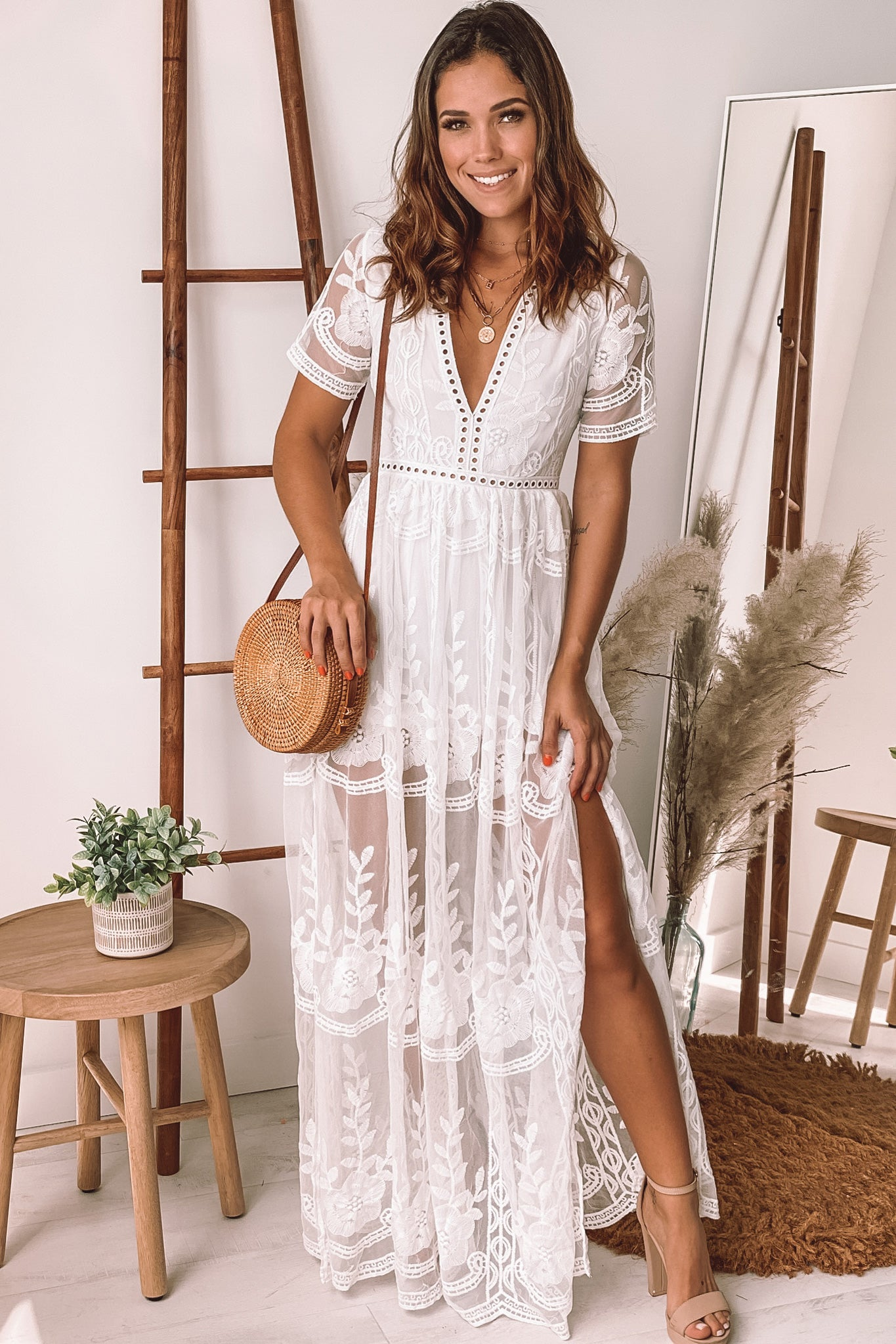 off white lace maxi romper with sleeves and slits