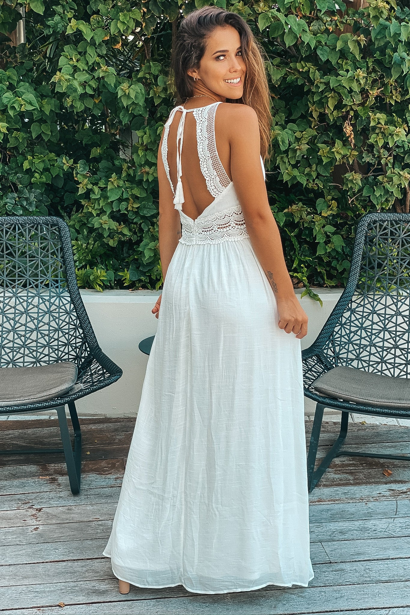 off white maxi dress with crochet trim and ligning