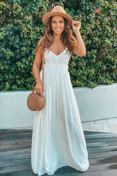 Off White Maxi Dress With Open Back And Frayed Hem