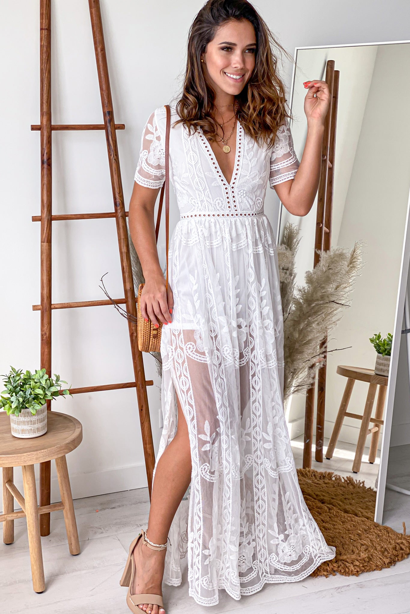 off white maxi romper with slits