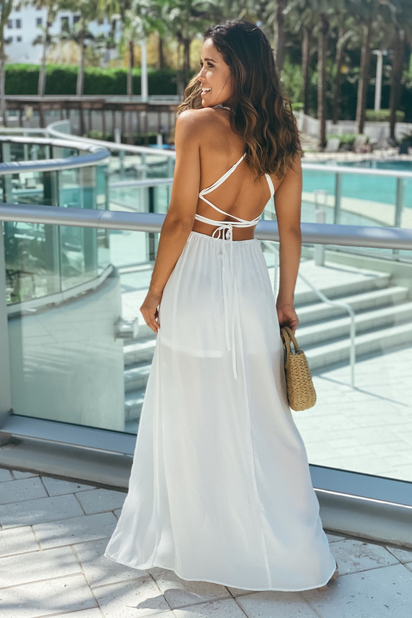 off white open back maxi dress