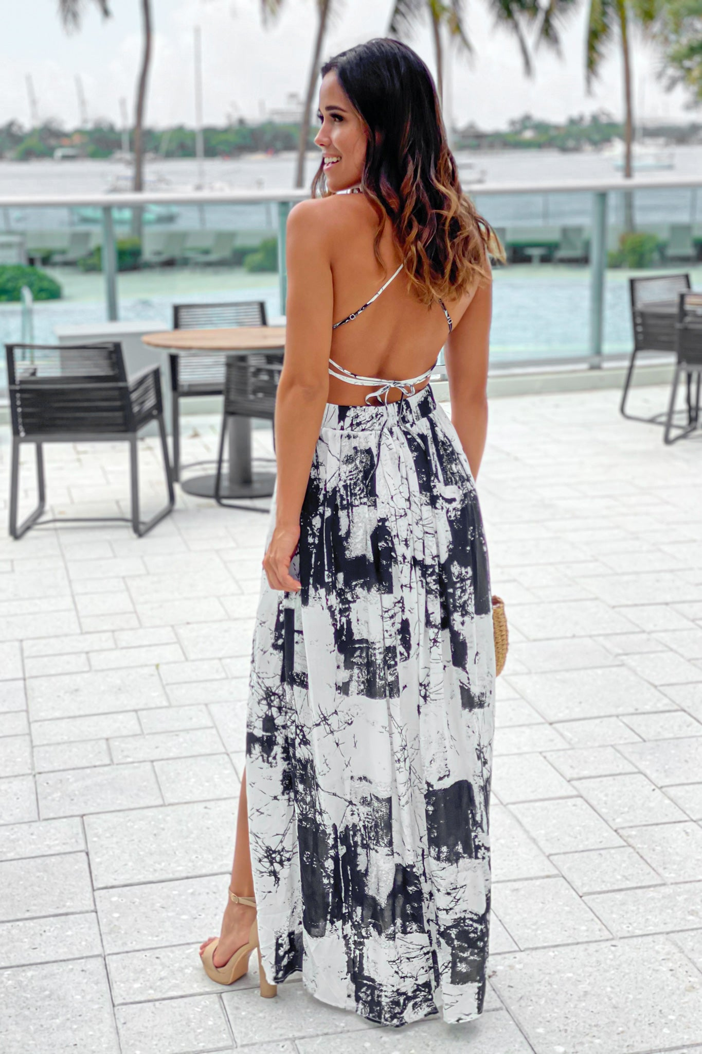 off white printed criss cross maxi dress