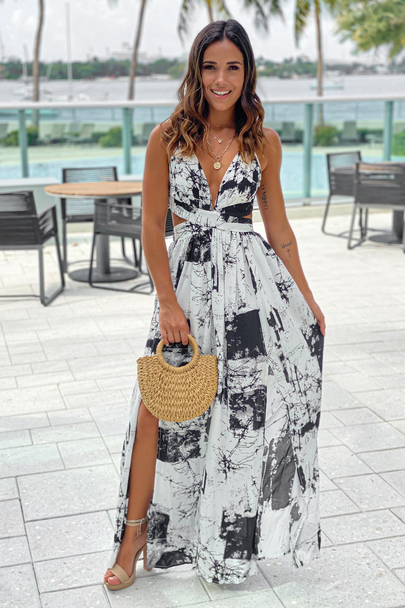 off white printed maxi dress with cut outs
