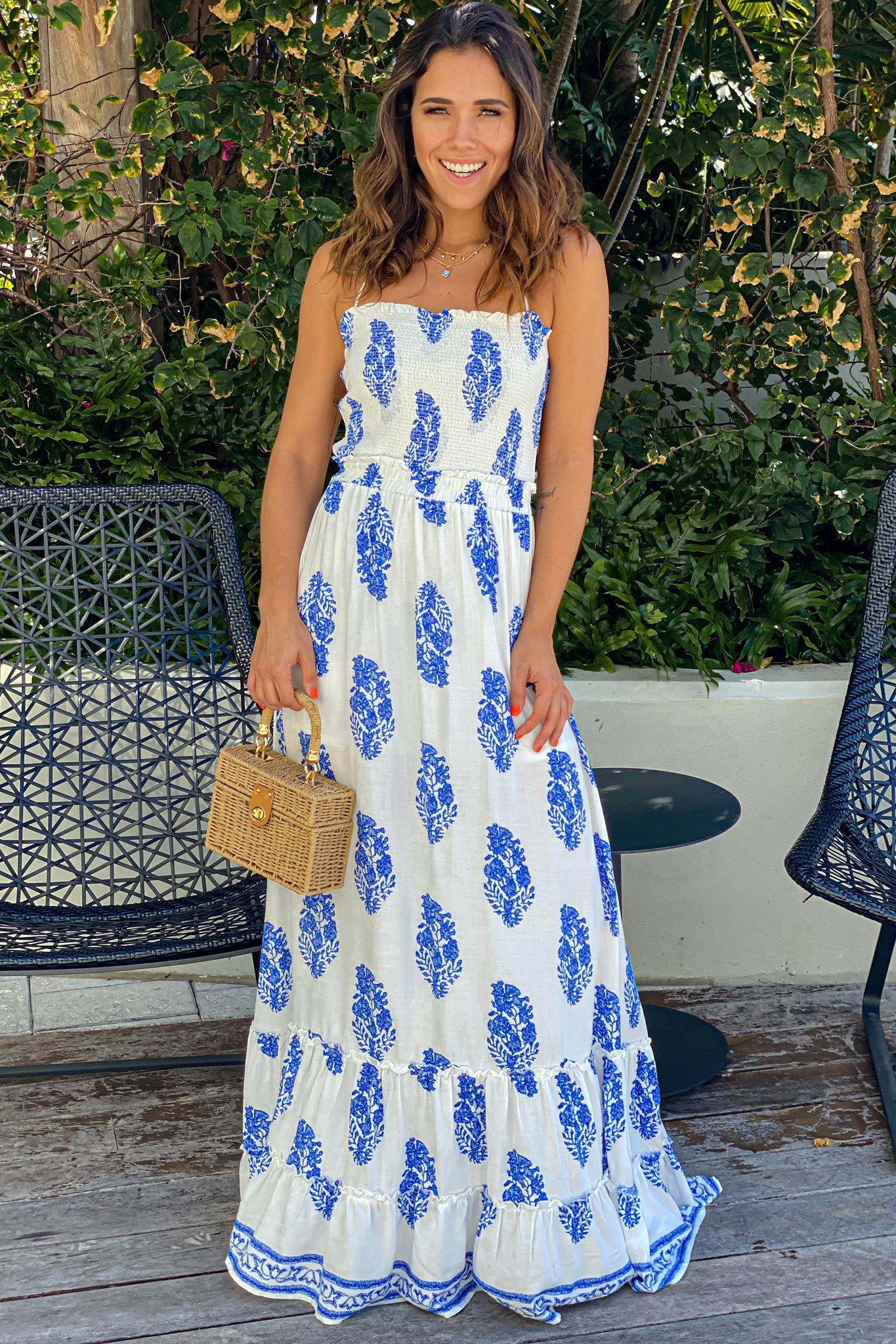 off white printed maxi dress with strappy back