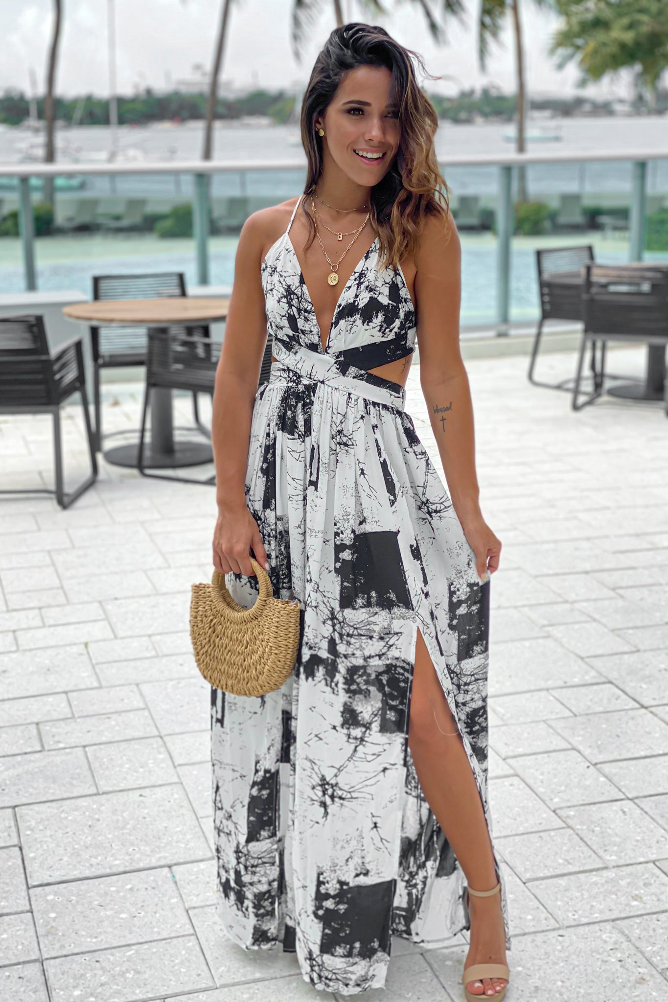 off white printed maxi dress