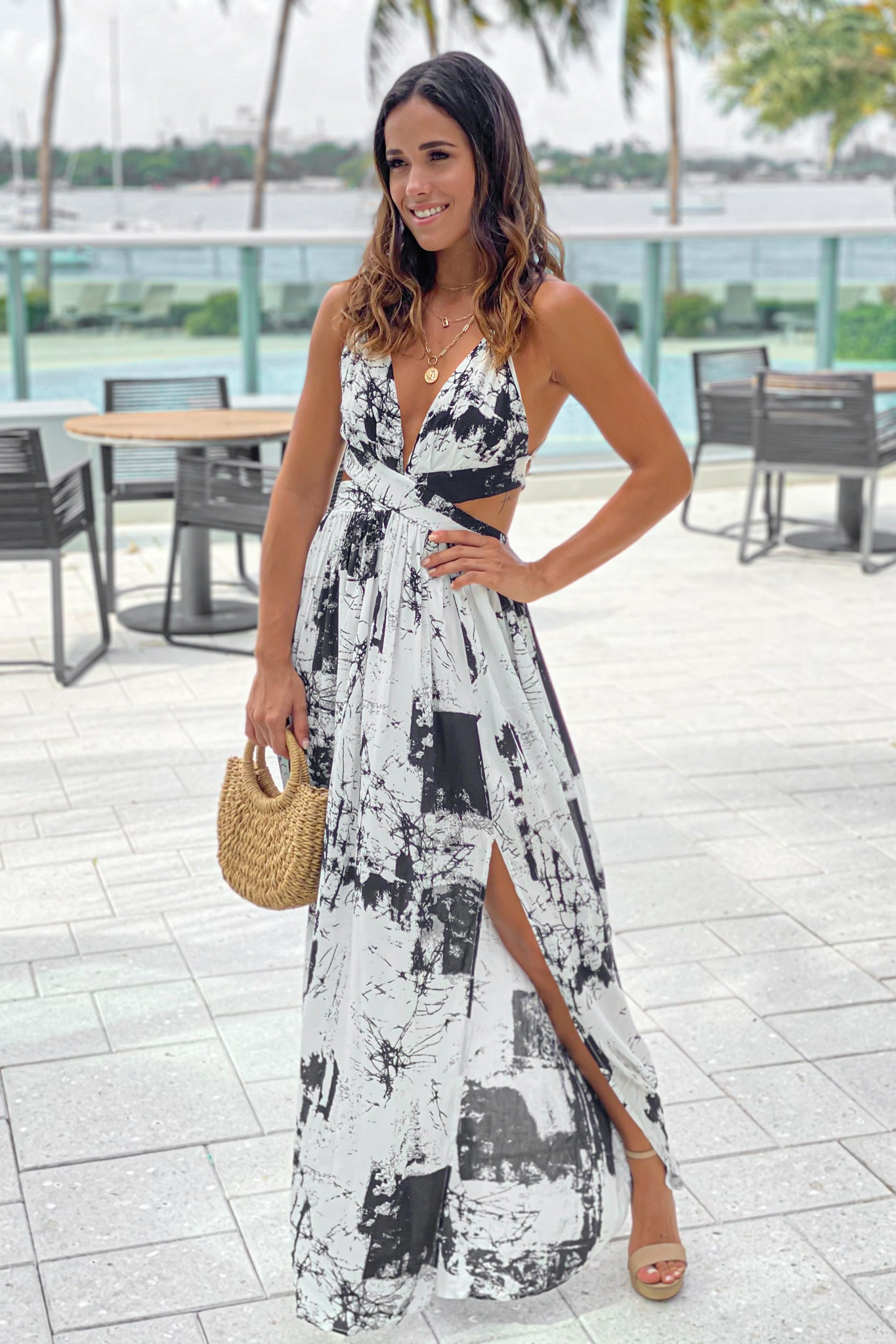 off white printed summer maxi dress