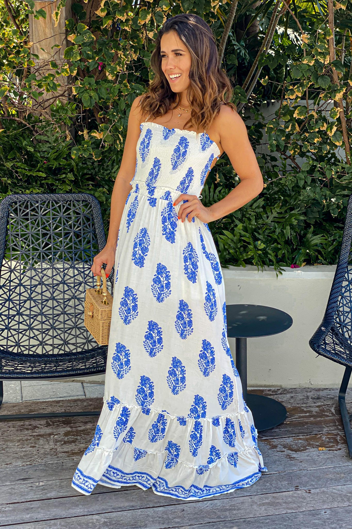 off white printed summer maxi