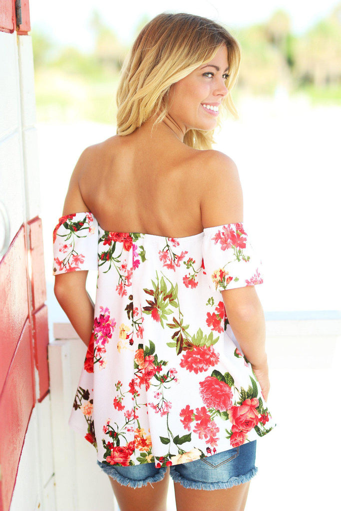 off shoulder top with floral print