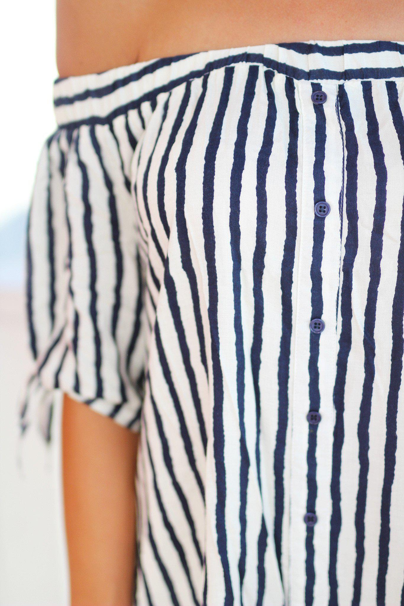 Navy and White Off Shoulder Top with Buttons