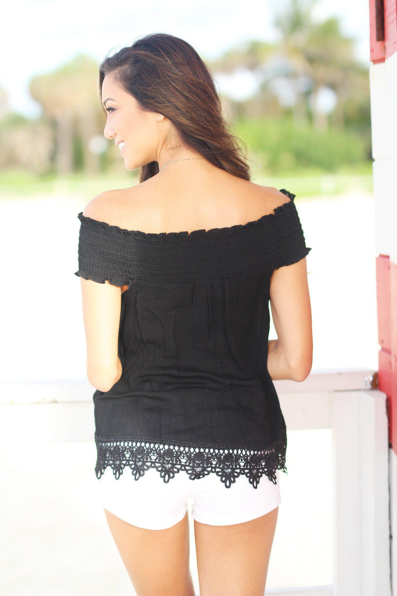 Black Off Shoulder Top with Crochet Trim