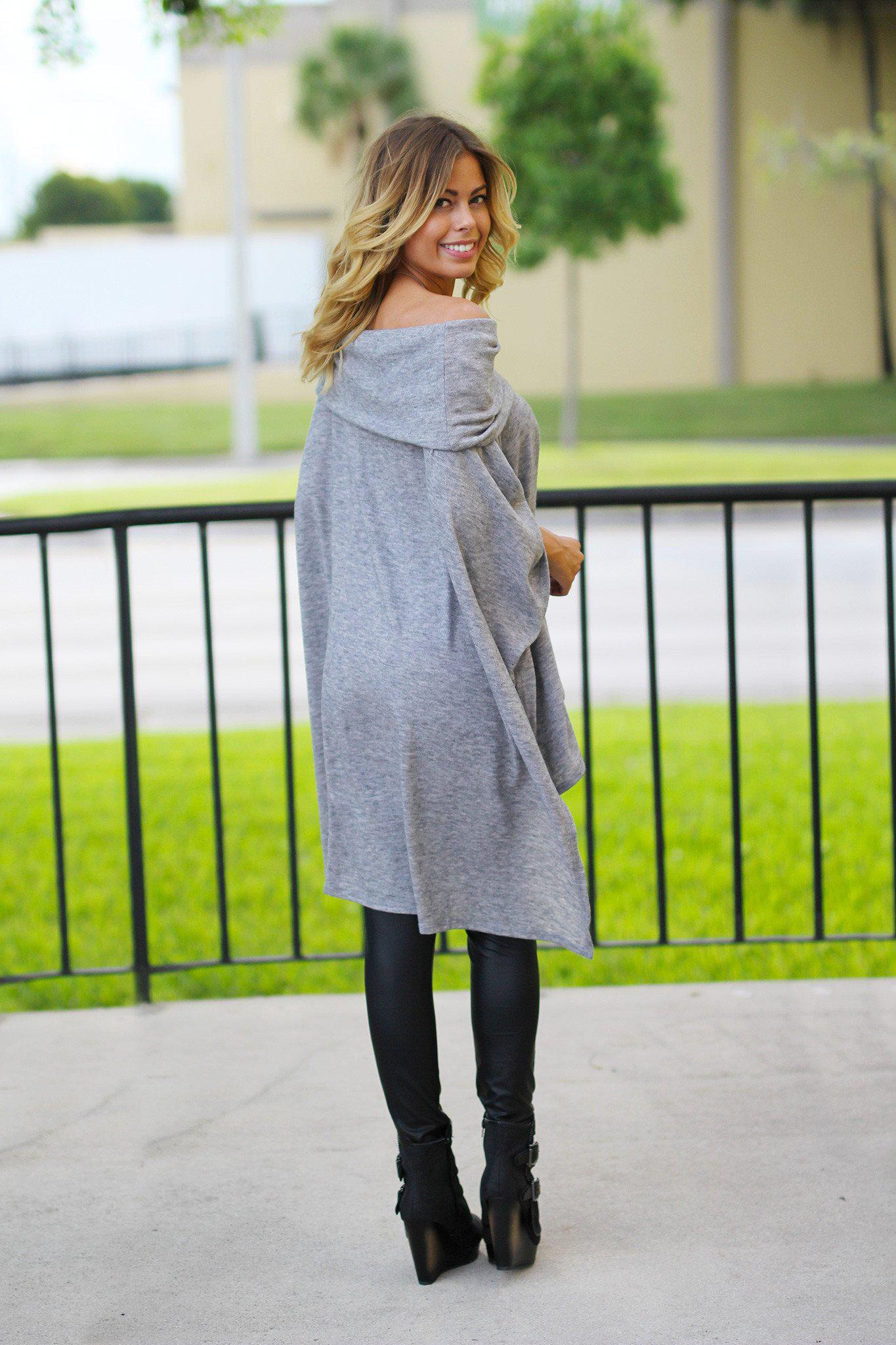 Gray Off Shoulder Poncho