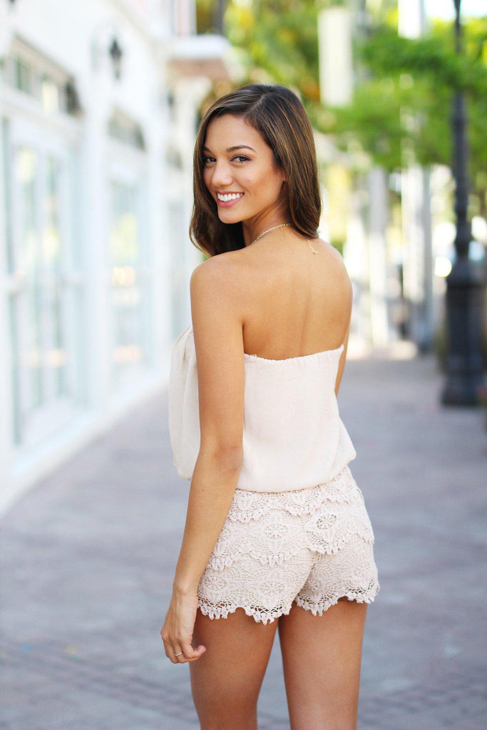 taupe strapless romper