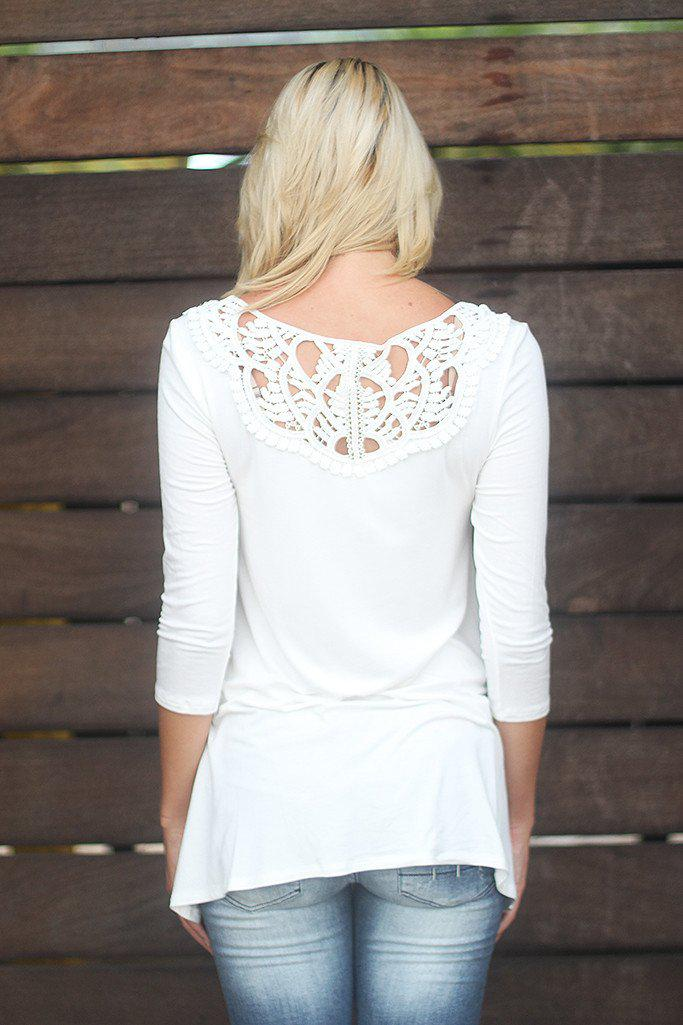 Off White Top With Crochet Detail