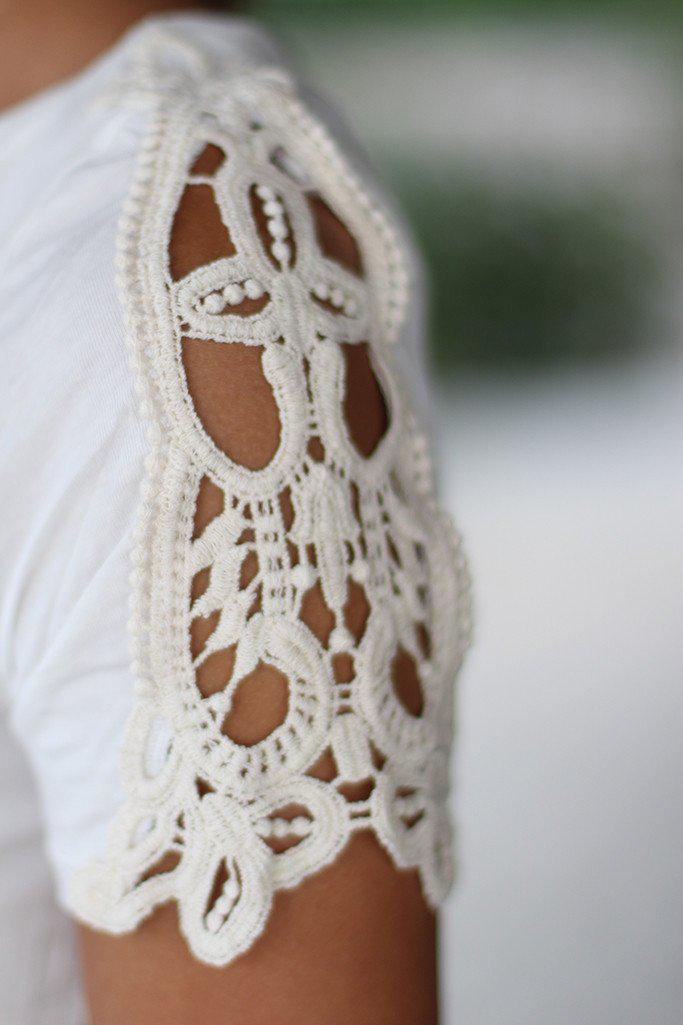 Off White Top With Crochet Sleeves