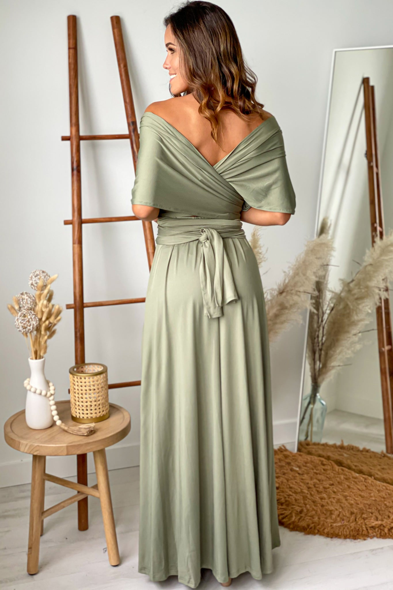 olive bridesmaids maxi dress