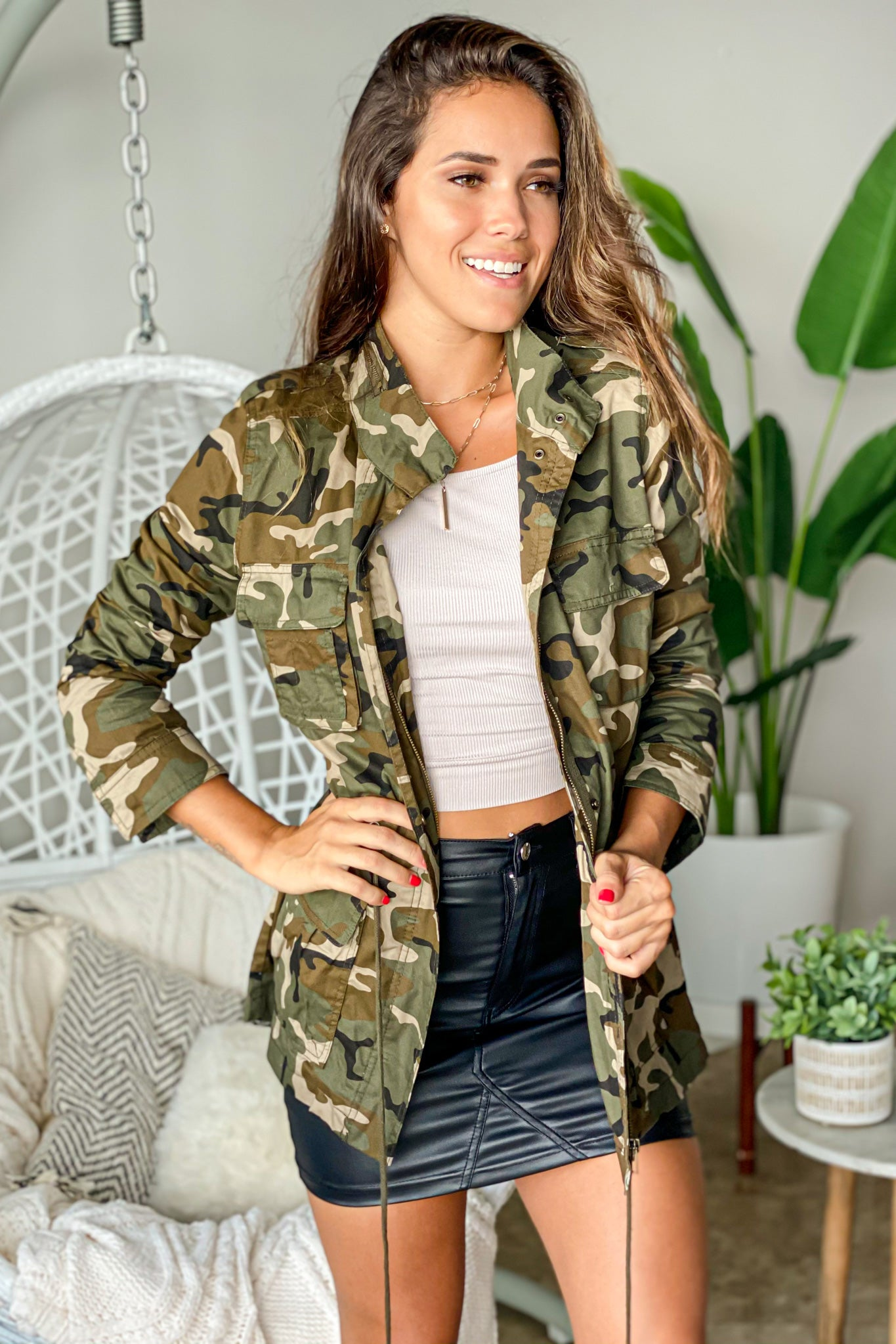 olive camo casual jacket