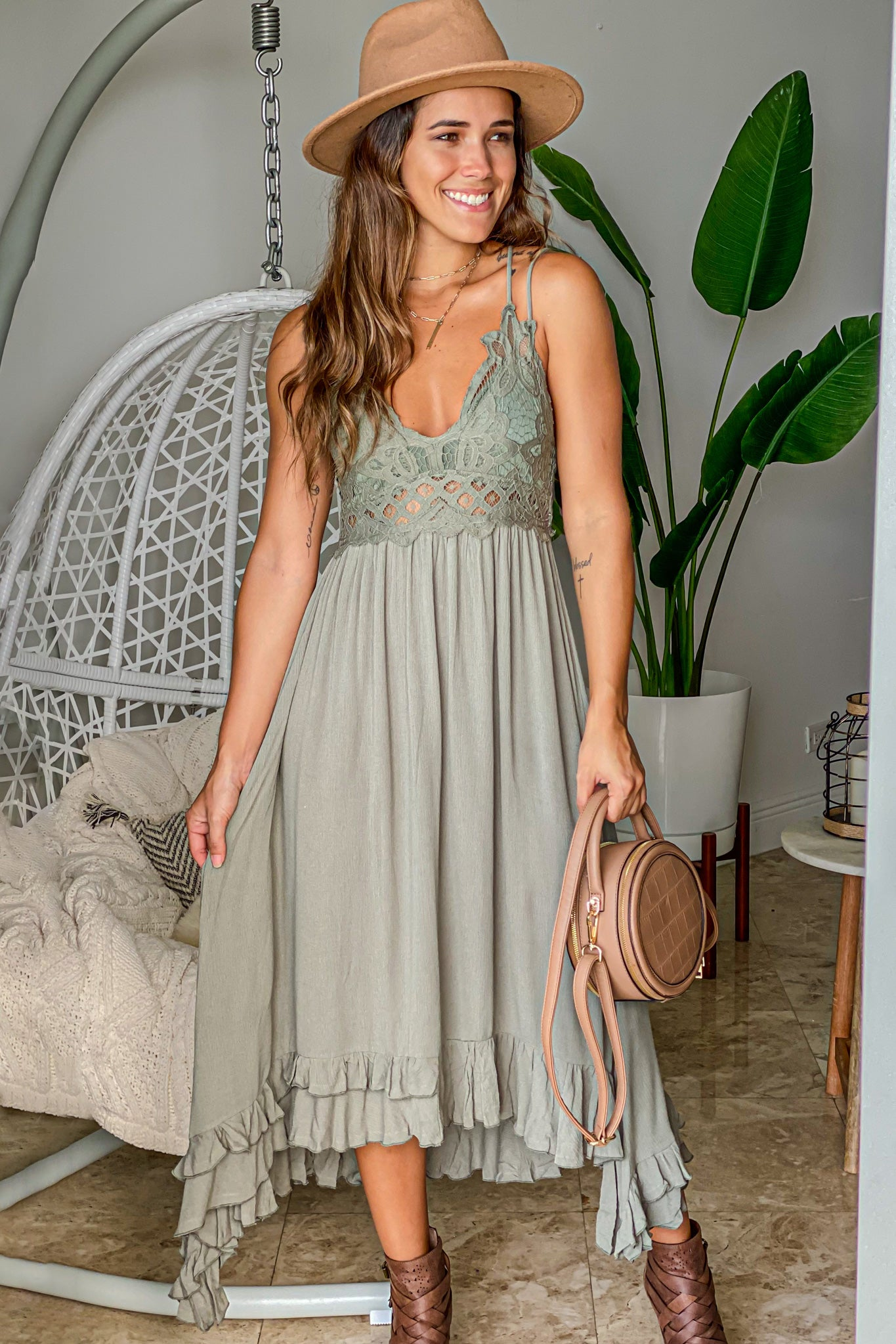 olive casual high low dress