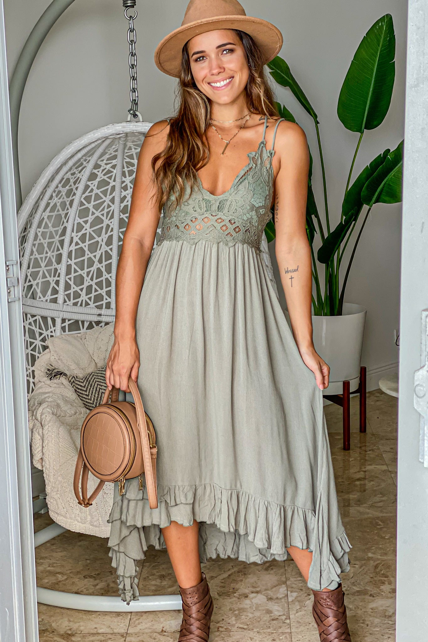 olive crochet top high low dress