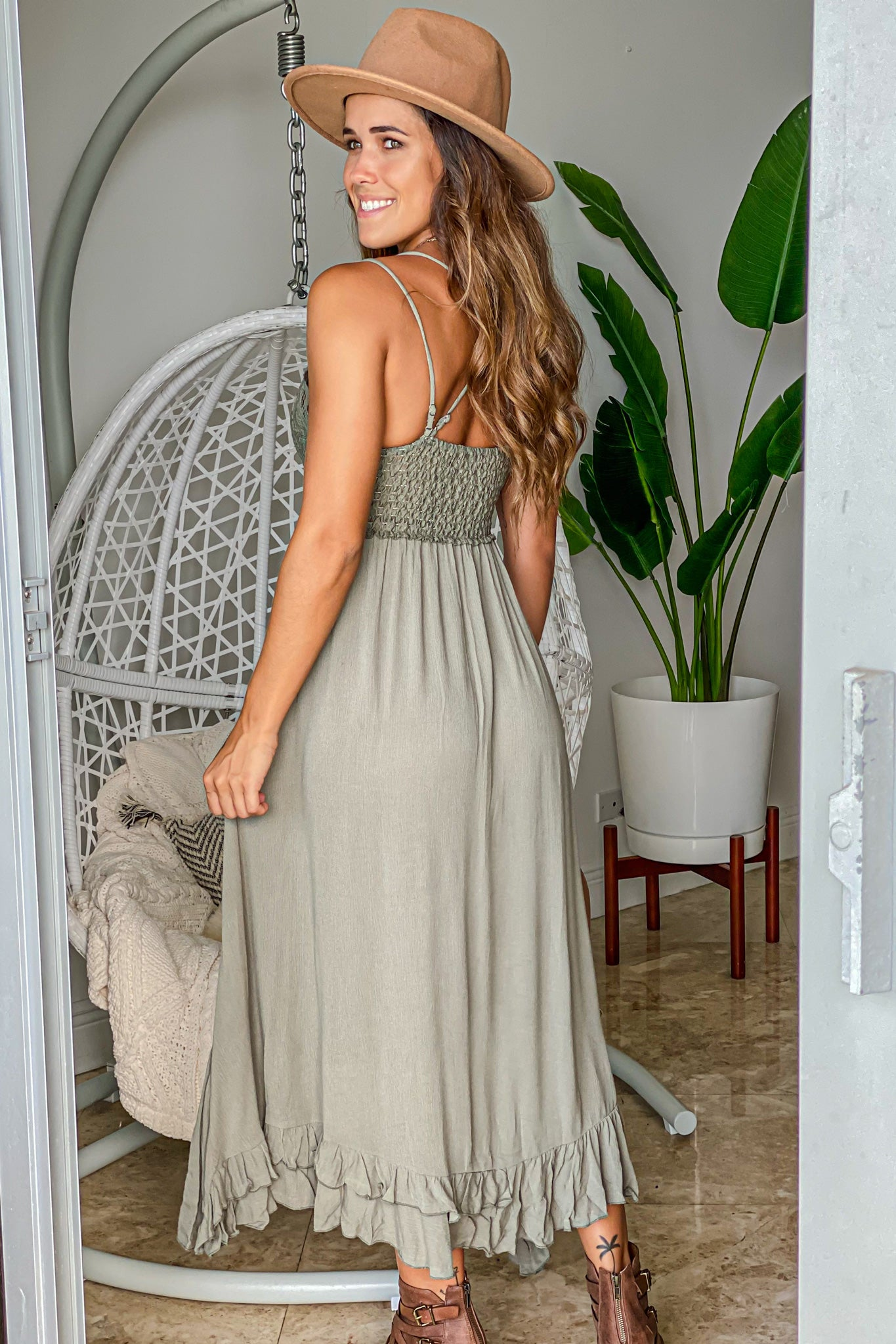 olive cute high low dress