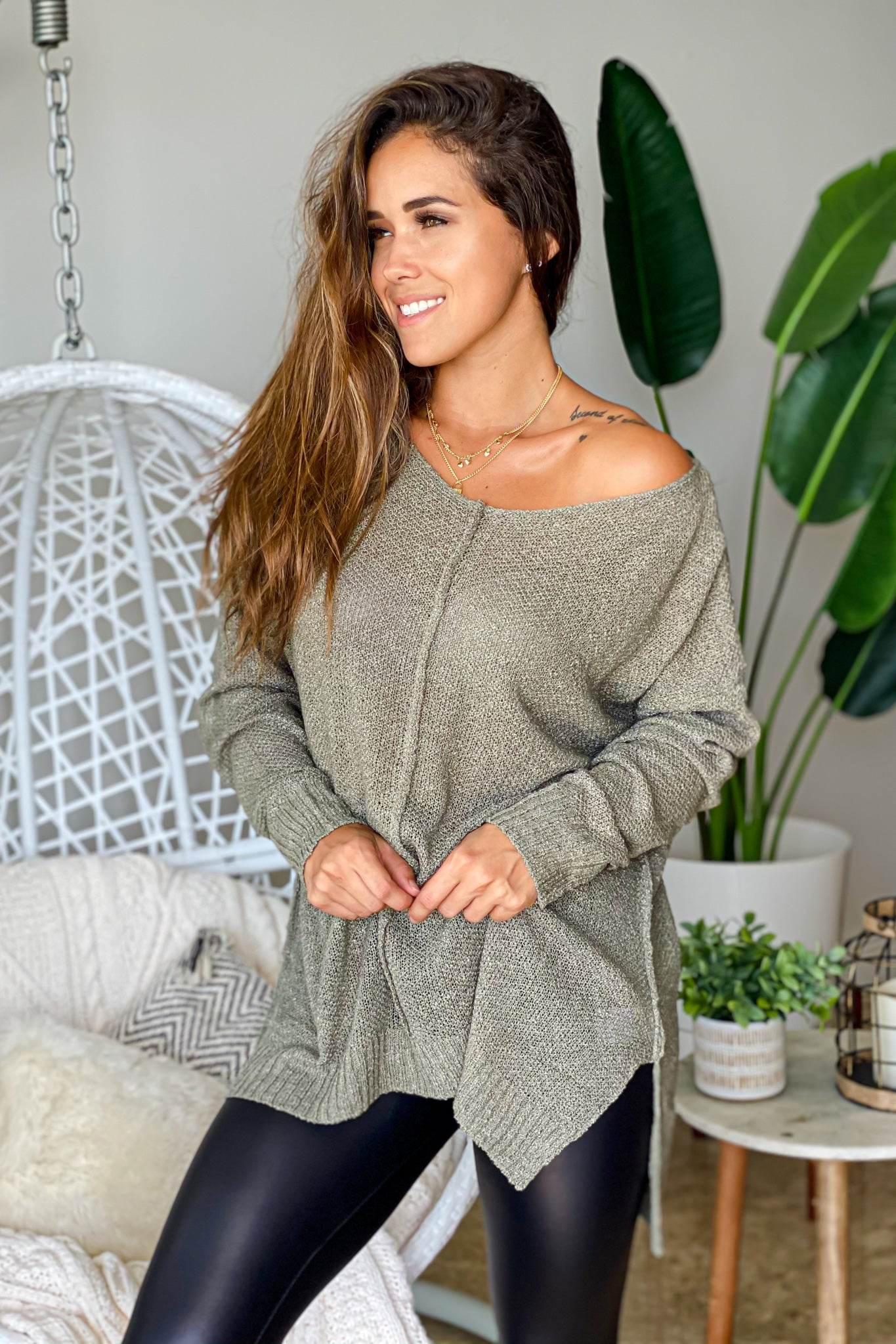 olive cute tunic top