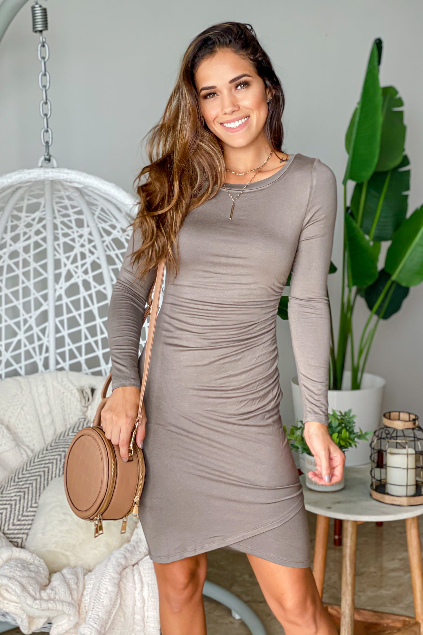 olive long sleeve ruched short dress