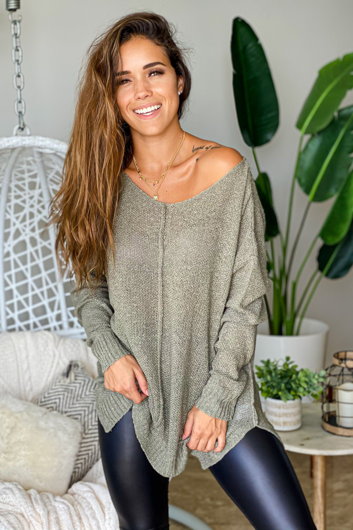 olive long sleeve tunic top
