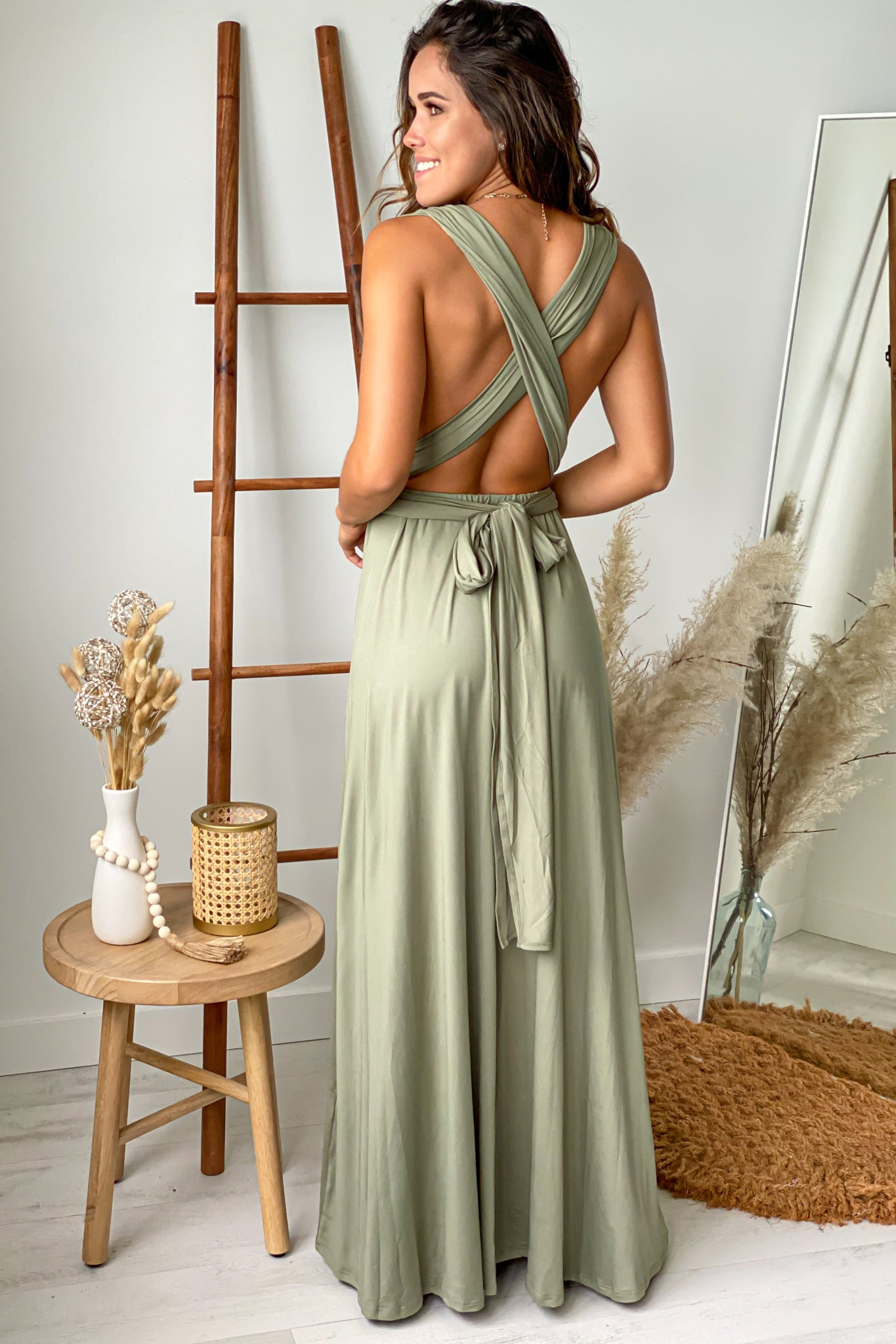 olive multi tie maxi dress