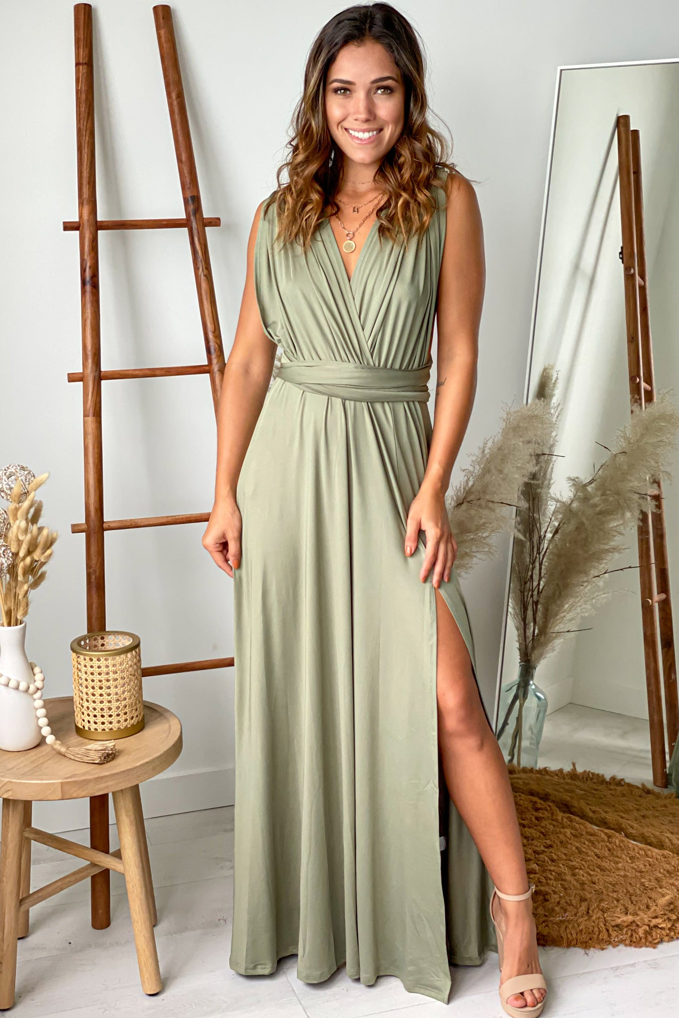 olive multi tie maxi dress with slit