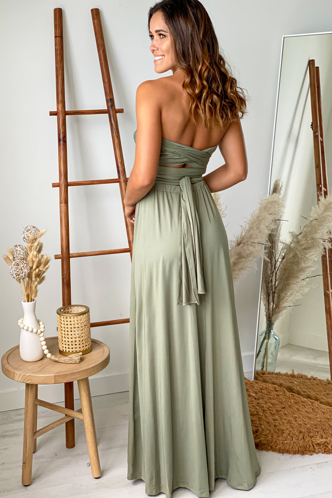 olive open back maxi dress