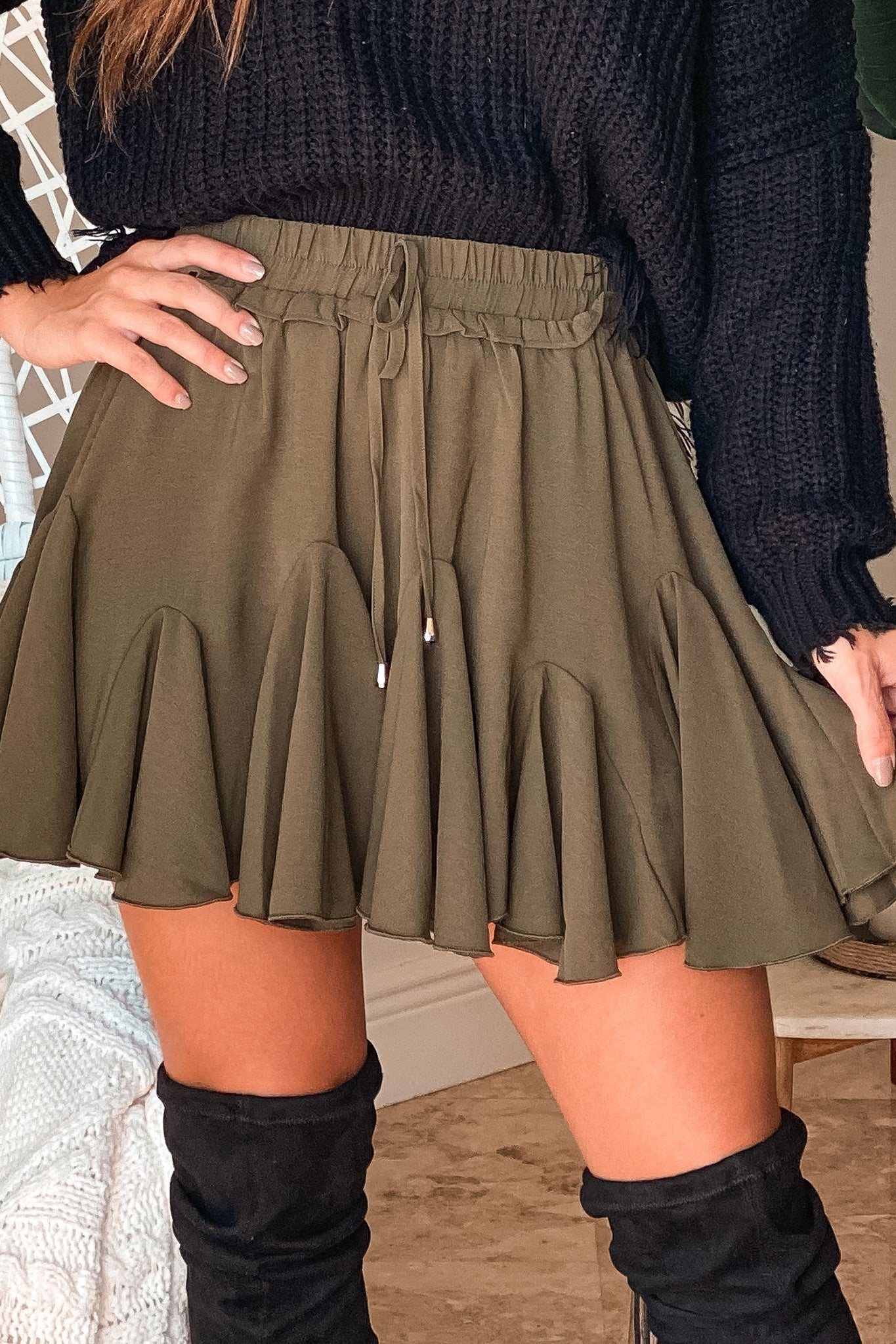 olive ruffle trim shorts