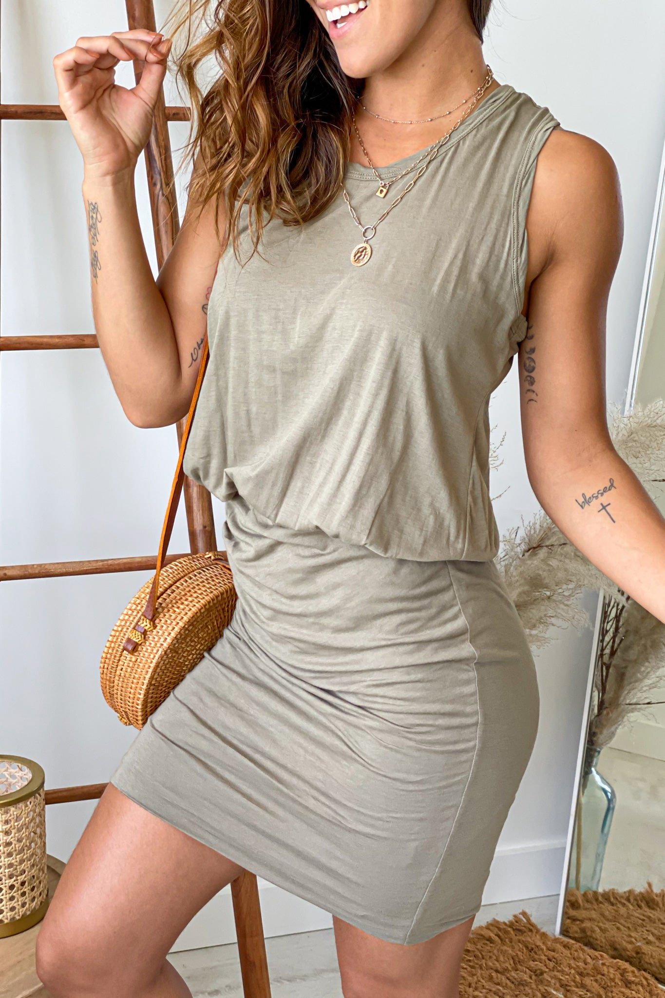 olive short dress with ruched  bottom