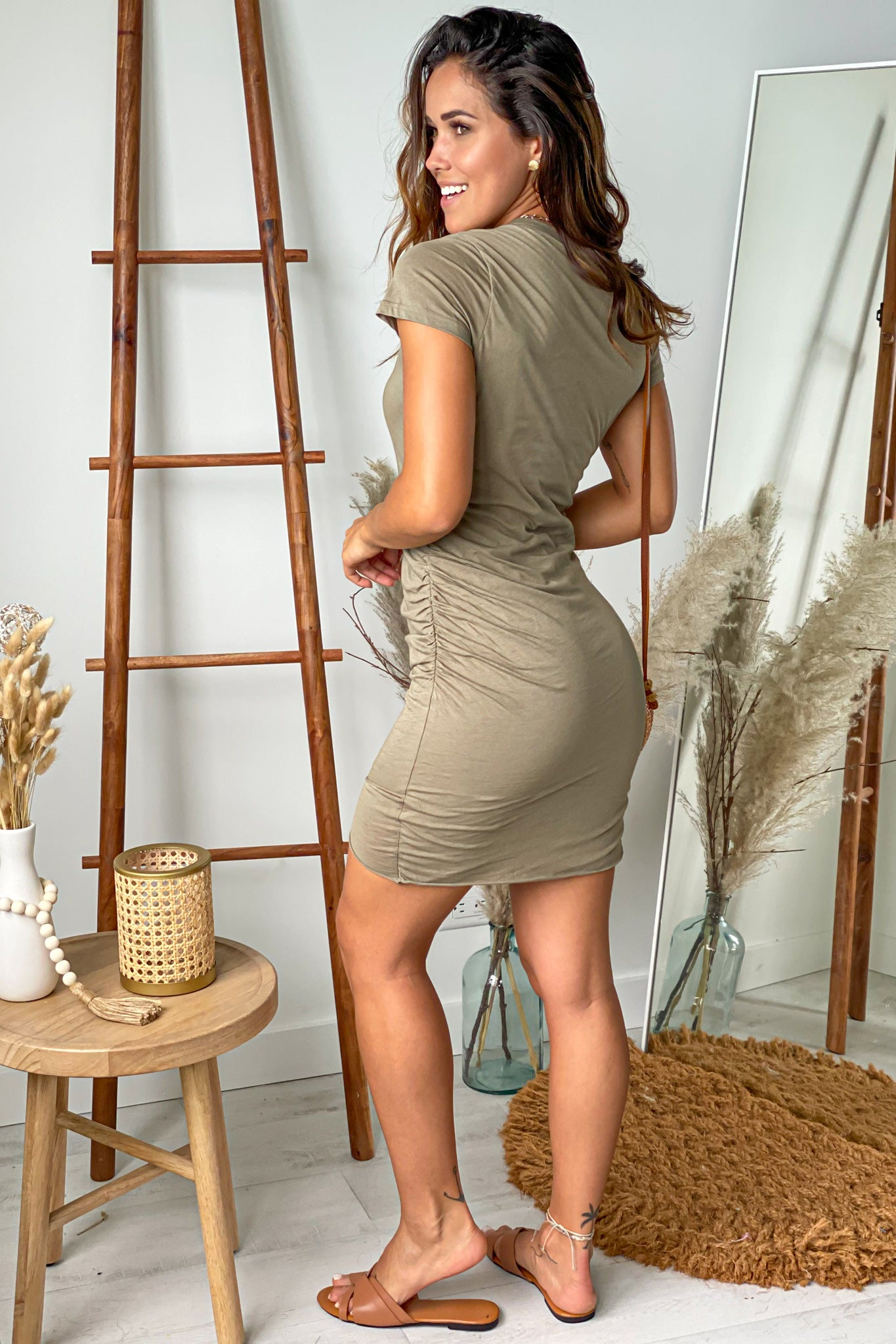 olive short dress with sleeves