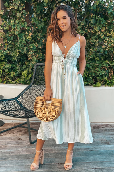 Olive Striped Maxi Dress With Front Ties