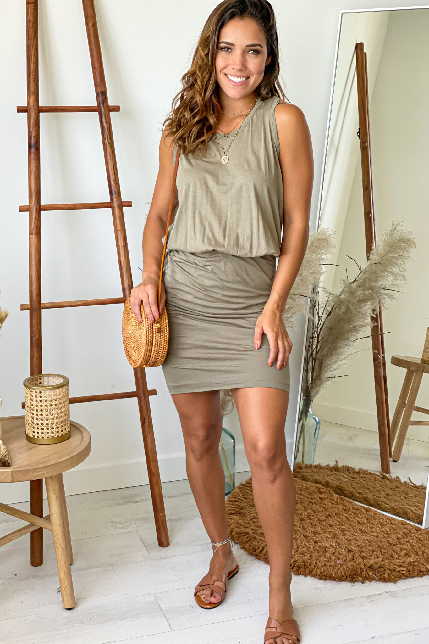olive summer short dress