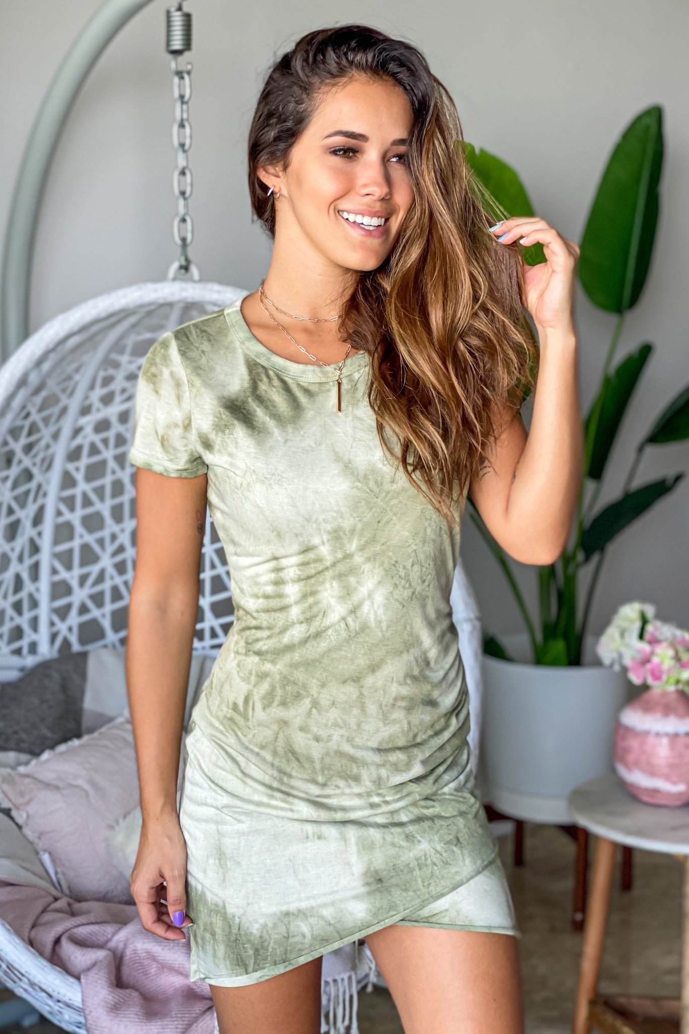 olive tie dye casual dress