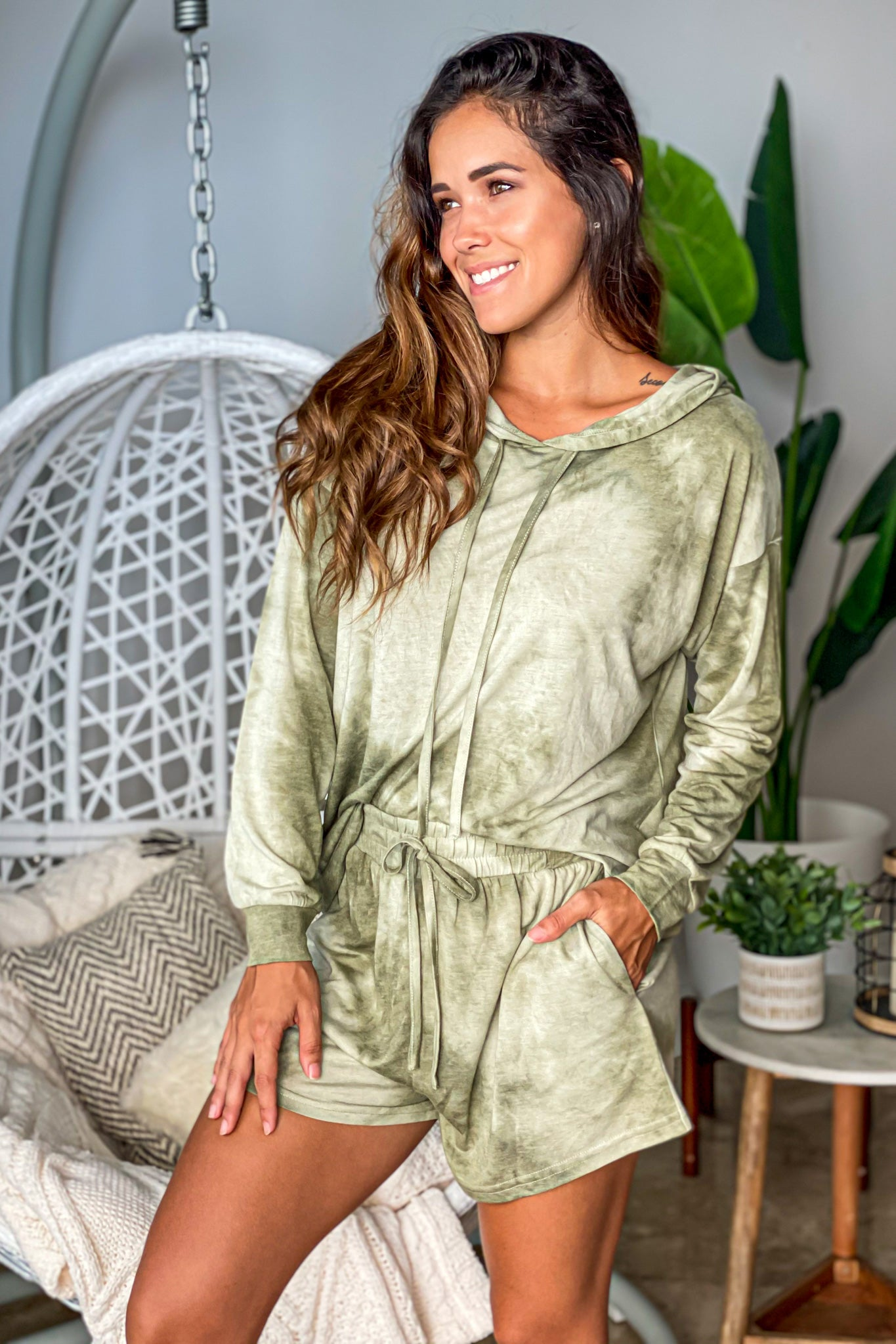olive tie dye lounging set