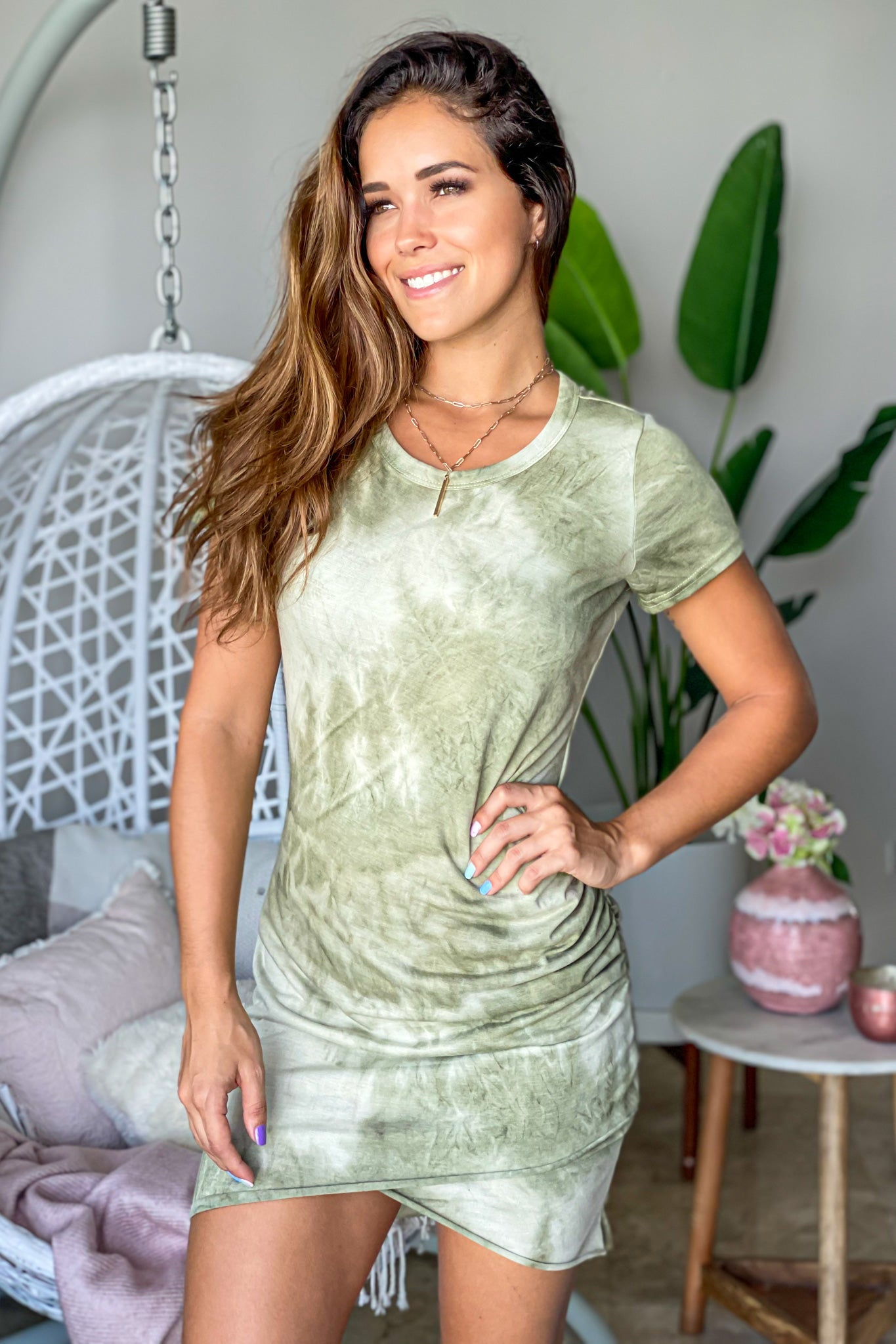 olive tie dye short dress with sleeves