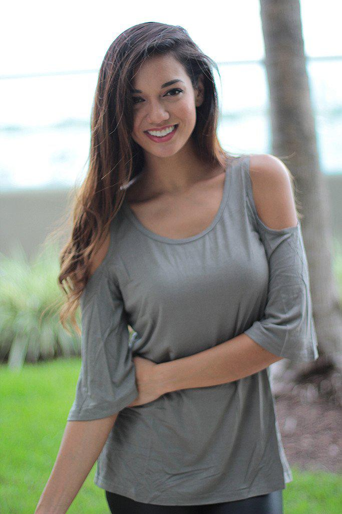 Olive Top with Open Shoulder