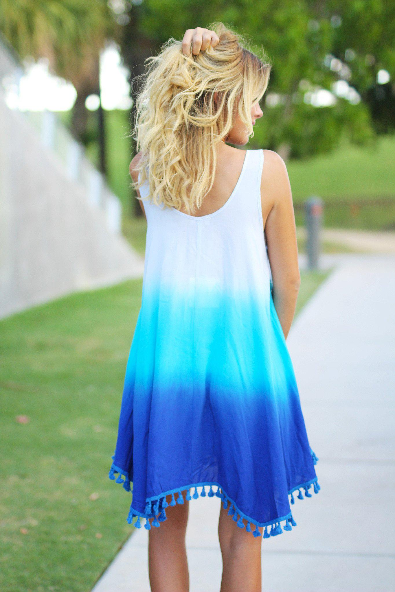 Blue Ombre Short Dress with Tassels