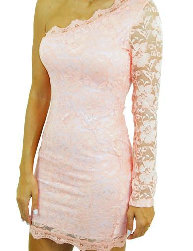 Peach Lace One Shoulder Dress