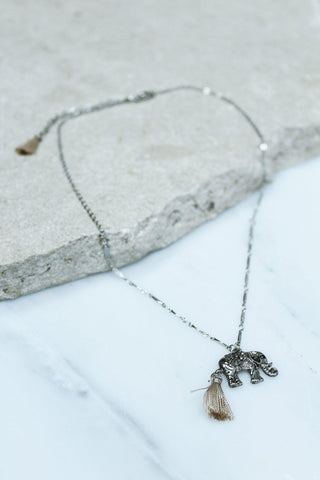 Silver Elephant with Tassel Detail Necklace